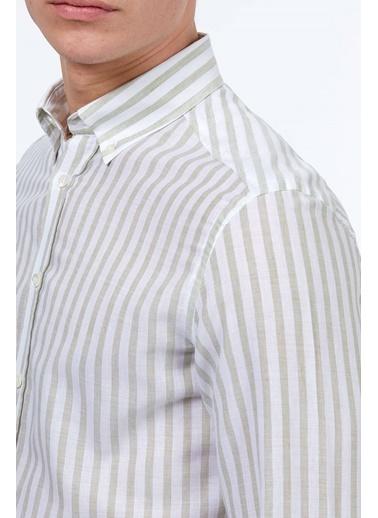 Hemington Çizgili Uzun Kollu Gömlek Yeşil